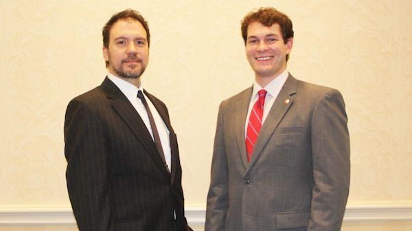 John M. Ridoldi (left), professor of medicinal chemistry and environmental toxicology, and Dion Armstrong Kevin III