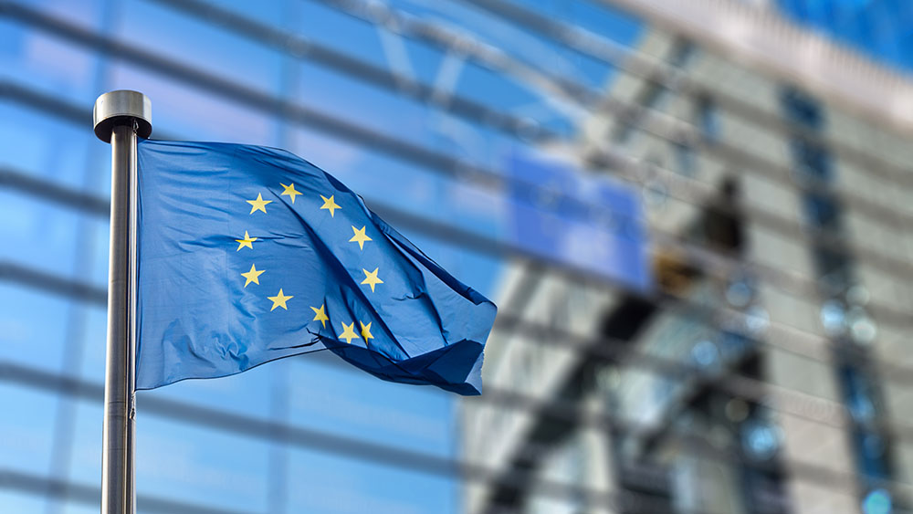 European Union flag against European Parliament